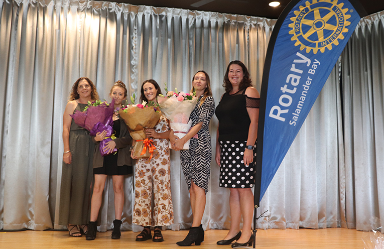 Deputy Mayor Sarah Smith with Council's IWD Scholarship Winners and Councillor Jaimie Abbott which were presented at the lunch. Photo by Marian Sampson.