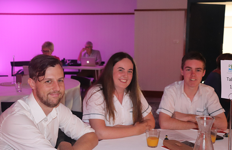 Tomaree High School's Callum Bailey with Students Rhiana Mackenzie and Cooper Tancred. Photo by Marian Sampson.