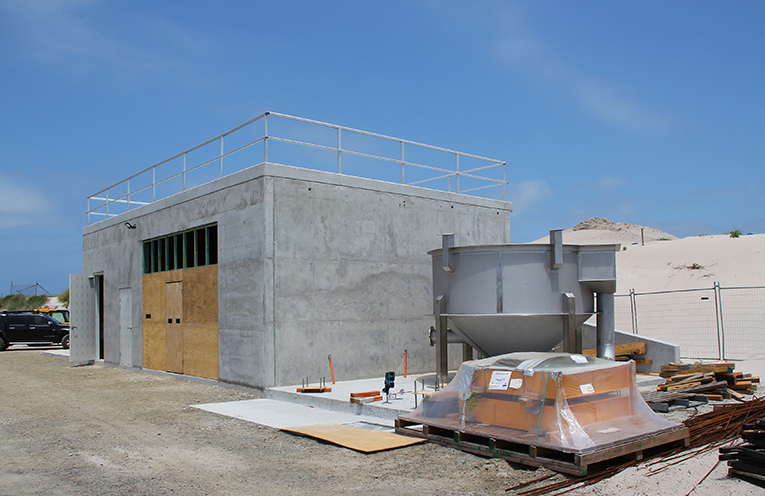 The Pump station construction was completed at Jimmys Beach in time to house the brand new pumps.