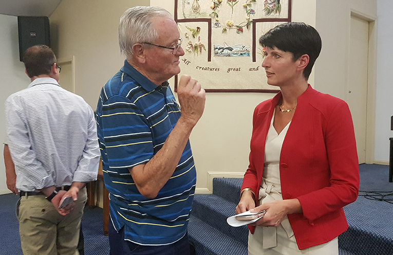 MEET THE CANDIDATES: Kate Washington MP meets the community.