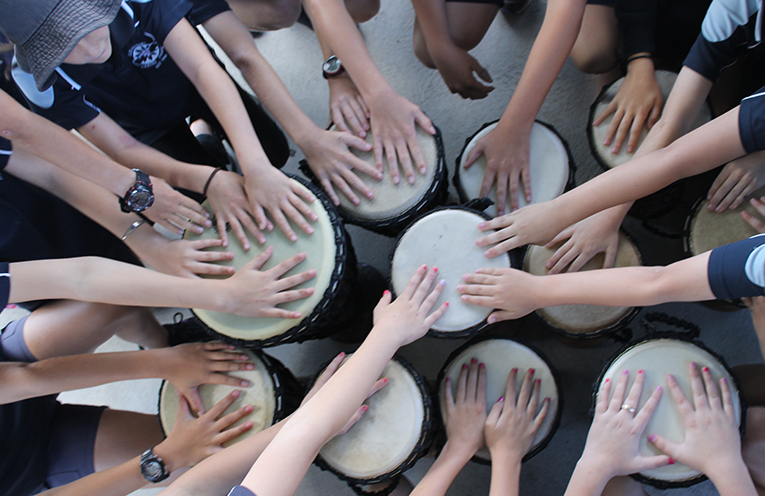 The Drum Circle from the 2017 Garden Party at Henderson Park.