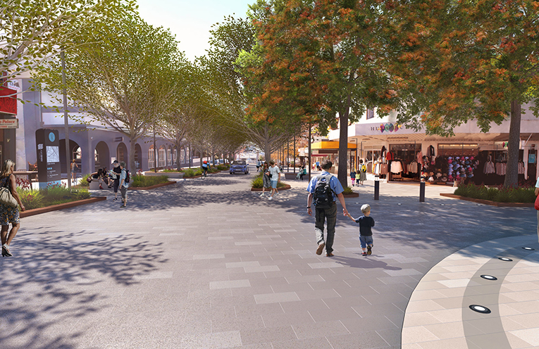 The proposed design for Stockton Street, Nelson Bay as featured in the new Public Domain Plan.