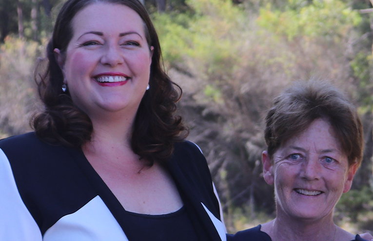 Liberal Candidate Jaimie Abbott with MLC Catherine Cusack at Tomaree Peninsula earlier this week. Photo by Marian Sampson.