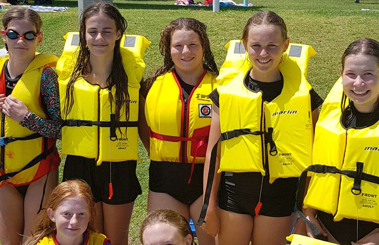 A group of Irrawang High School students ready for a water safety and survival lesson in the Royal Life Saving Swim and Survive Program.