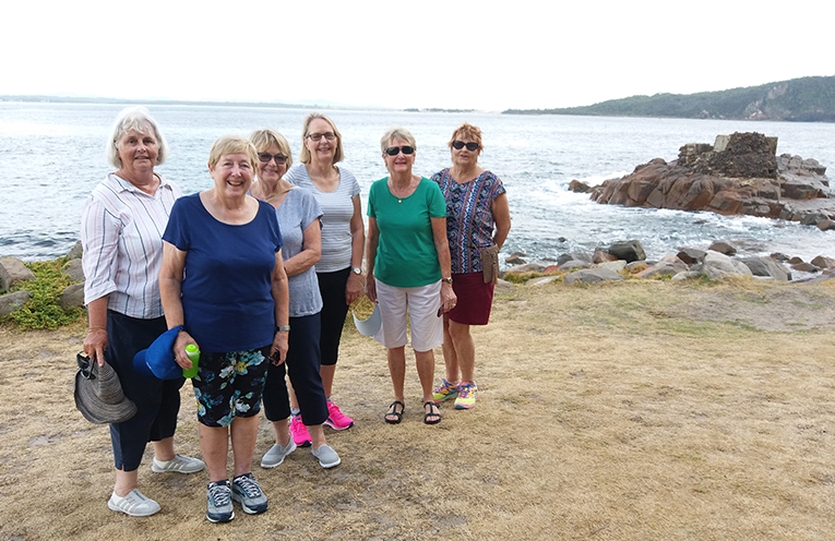 The Nelson Bay Waratah Slimmer Club Saturday Walkers, Loris Webster, Josie Meeks, Diane Sadler, Liz Page, Coralie Lewis and President Colleen Sessions.