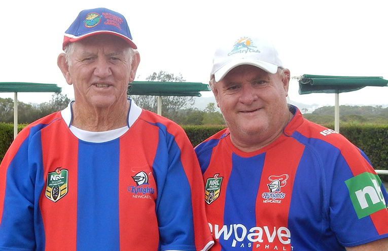 Ross Barry and John Parkinson supporting the Knights at the start of the footy season.