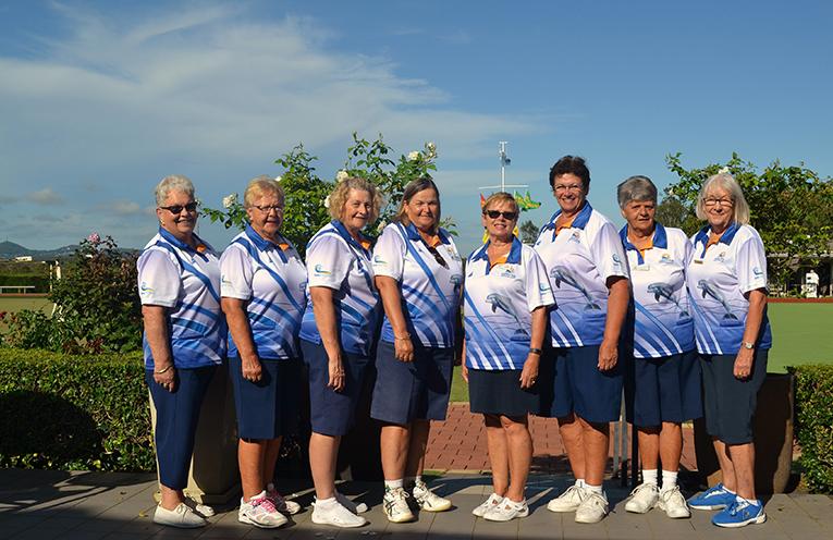 Pennant side Grade 4 Blue (L) to (R): Judy McGavock, Pam Gilchrist, Lynn Nightingale, Ingrid Luck, Jan Coomer, Judi Polak, Jill McBride and Dot Dallas.