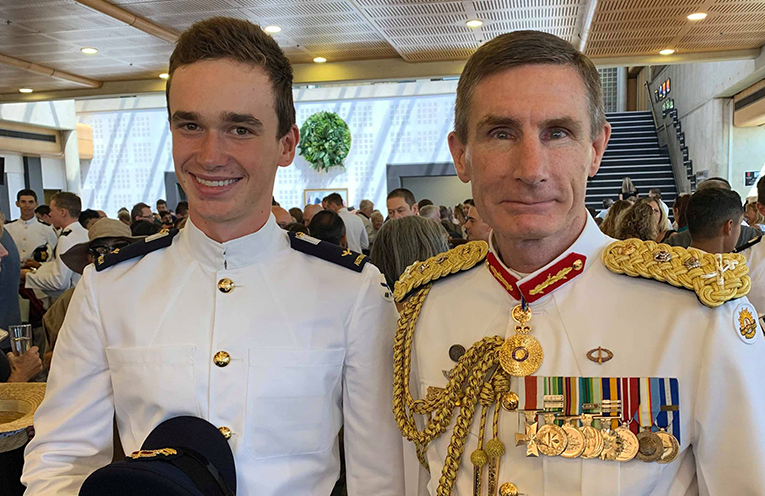 Photo of Noah in uniform and with the Chief Defence, General Angus Campbell.
