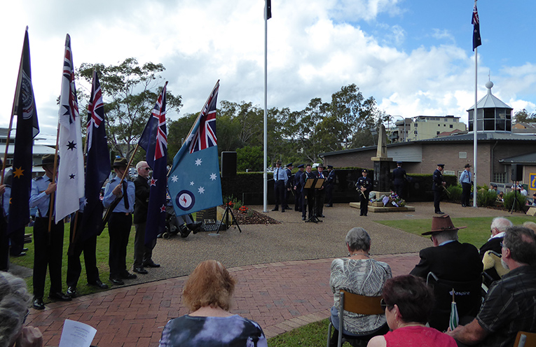 Cadets raising the flags.