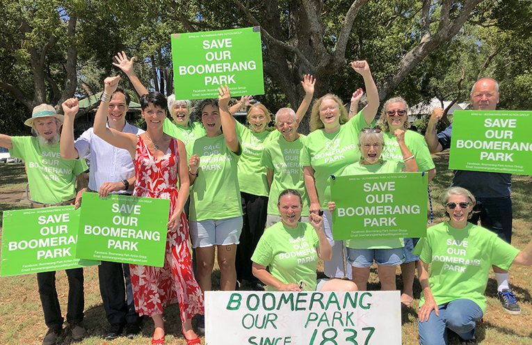 Community Members are keen to save historic Boomerang Park from Development.