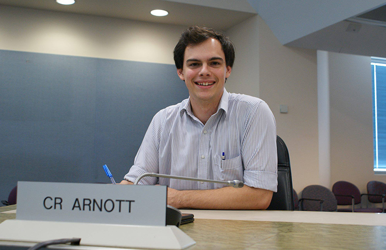 Councillor Giacomo Arnott in opposition to what he believes is a motion to gag Councillors.