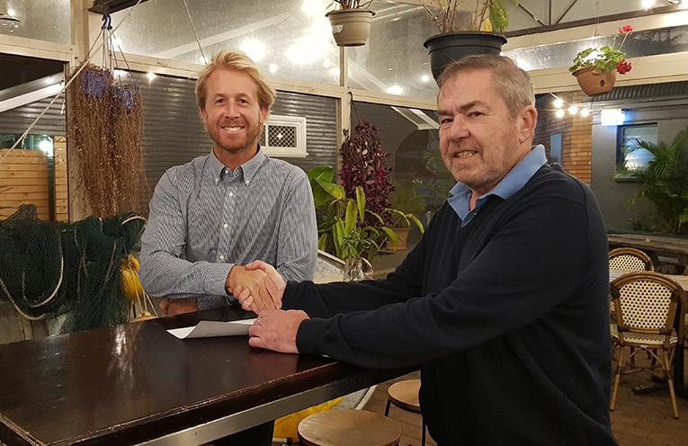 MYALL RIVER FESTIVAL SPONSORSHIP: Sheargold Marketing Manager Shaun McCausland and Chamber President Graham Lang.