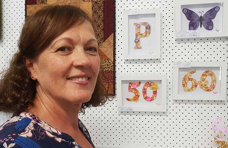 Wendy Lane with some of her quilling.