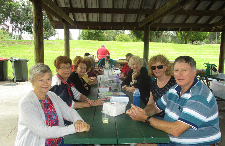 Everyone enjoyed a sausage sizzle at the picnic grounds behind the Hunter Gardens Shopping Village.