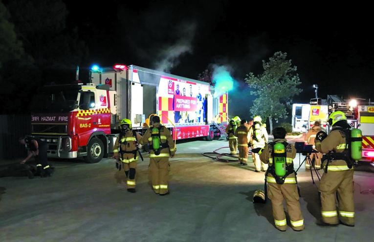The Raymond Terrace Fire and Rescue NSW Unit training in the BA Hazmat Semi-trailer.