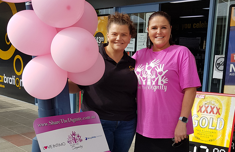 SHARE THE DIGNITY ORGANISERS: Christi Currie and Jodie Genner.
