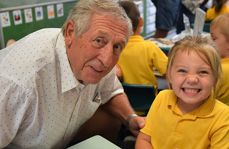 GRANDPARENTS DAY: Peter Turnbull and granddaughter Evie.