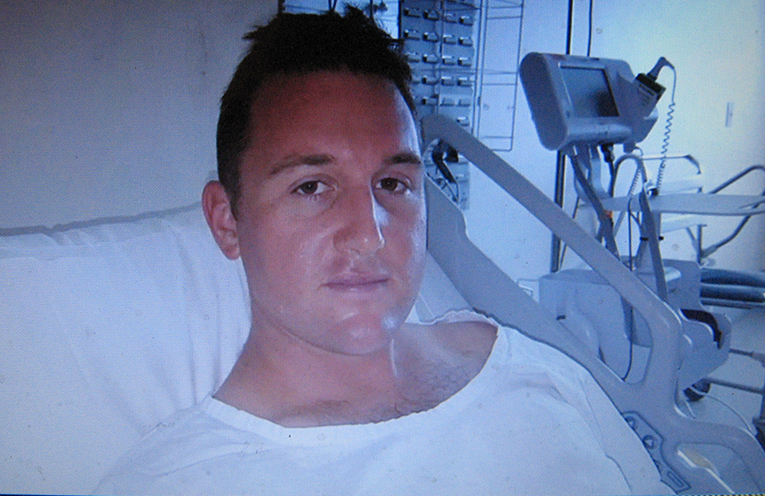 Hadyen recovering in hospital. Photos courtesy of NSW Police.