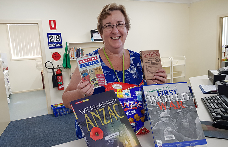 ANZAC CRAFT DAY: Librarian Carol Johnson.