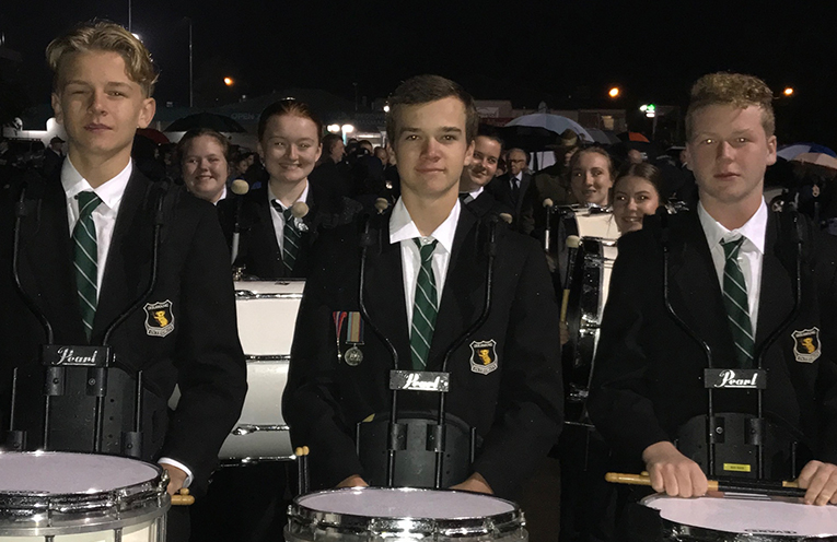 Irrawang High School Drum Corps in action at ANZAC Day 2018.