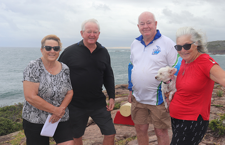 Gail and Peter Murray with Ray and Marcia Smith on the headland where the lifering has been stolen from. Photo by Marian Sampson.