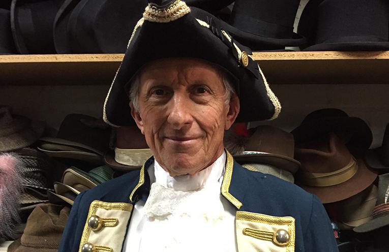 Descendant Jonathan King in full Rear Admiral uniform.