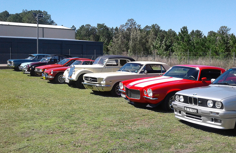 RFS HEADQUARTERS: Tea Gardens Motor Club vehicles on display.