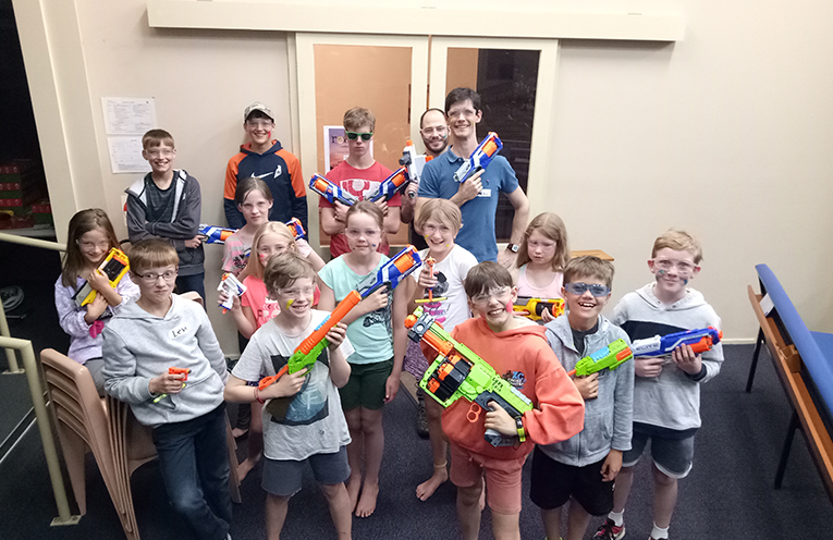 Path FInders ready to get tagging in a NERF battle.