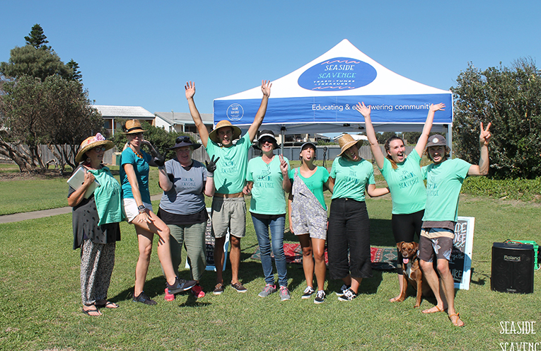 The Seaside Scavenge environmental warriors enjoying their successful event at Anna Bay Port Stephens.