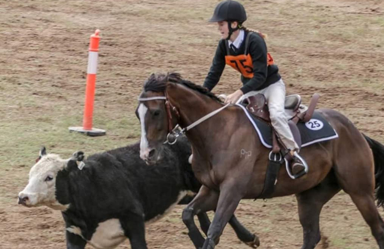 Abbie Lonsdale and Chilli at work in the Campdraft