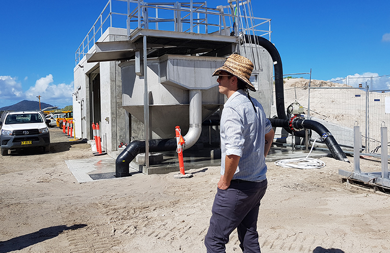 SAND TRANSFER SYSTEM: MidCoast Council Coastal Management Coordinator Andrew Staniland.
