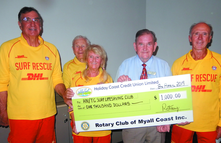 ROTARY CLUB: Tea Gardens Hawks Nest Surf Life Saving Club donation.