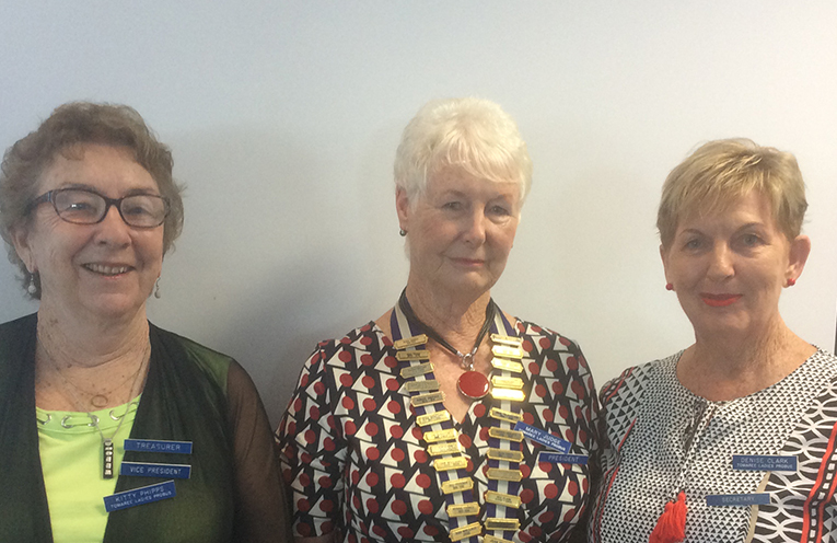 The new committee's Treasurer and Vice President Kitty Phipps, President Mart Judge and Secretary Denise Clarke.