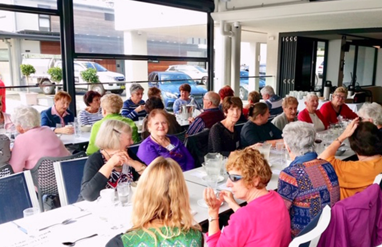 The Friendship Group enjoying lunch at The Cruising Yacht CLub at Rushcutters Bay.