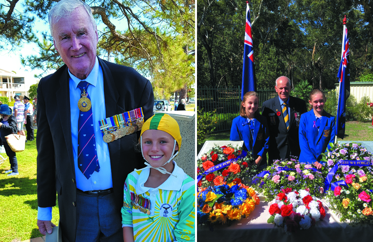 ANZAC DAY: Rear Admiral (retired) Peter Sinclair and Laura Howarth. (left) PETER SINCLAIR GARDENS ANZAC MEMORIAL: Isla Brumby, Barry Whiteman and Natureh Fenton-Holt. (right)