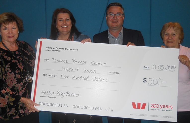 Taurie Lalor, receiving the $500 cheque from Jason Russell of Westpac, with Virginia Smith (Treasurer) and Jan Puckeridge (Secretary)