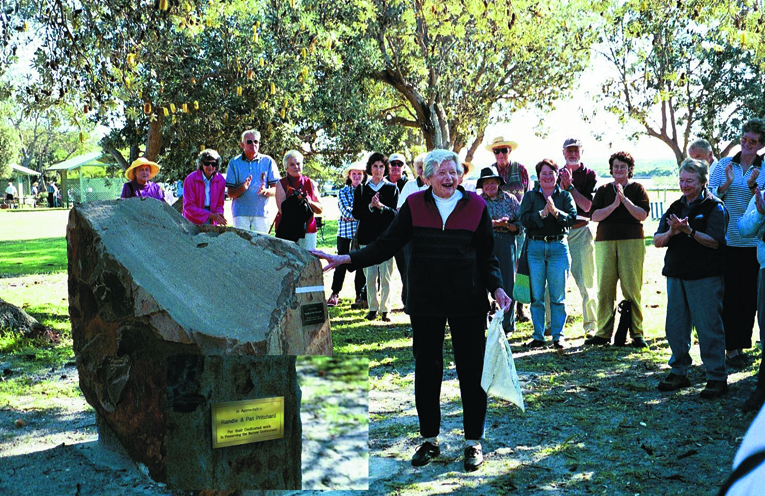COMMEMORATIVE STONE DEDICATION:: Pat Pritchard at the Winda Woppa Reserve in 2003.