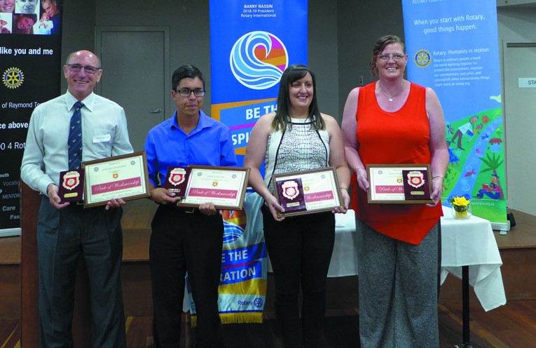 2019 award recipients: Sgt Joe Krzanic, Damien Wilson, Hannah Rodway, and Jane Withers (photo supplied).