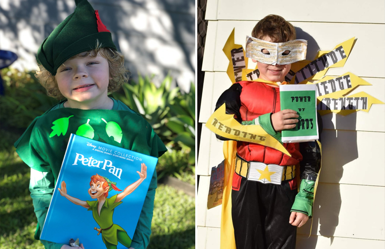 Xavier Vaughan (Year 1) as Peter Pan (left) Cody Veitch as Captain Reader. (right)