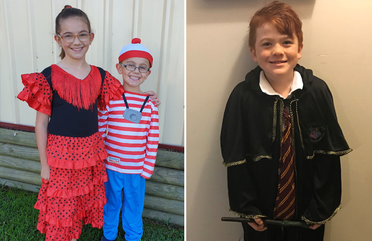 Isabelle Wyatt (Year 3) dressed as a Spanish dancer with her brother Cohen Wyatt (Kindergarten) dressed as Wally.  (left) Oaklan Reed (Year 2) as Ron Weasley. (right)