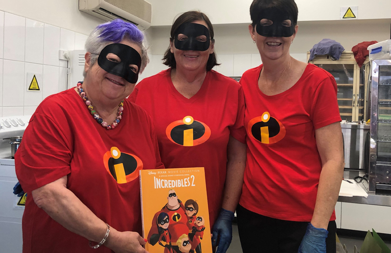 Canteen volunteers get in the spirit of the Book Week Parade, Mrs Noake, Mrs Wilson, and Mrs Grant.