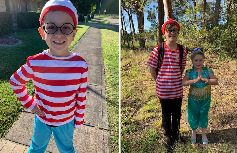 William Le Roux (Year 1/2) as Wally. (left) Hayden Reddon (Year 5) dressed as Wally and Sophia Reddon (Year 2) as Shine from Shimmer & Shine. (right)