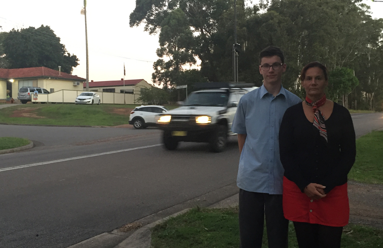 Tania Bunk and son at the site of the proposed Medowie Road access