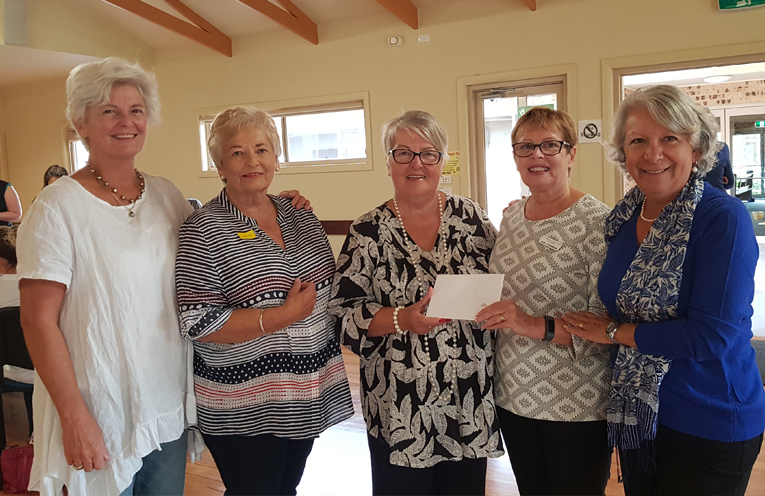PEARLS DONATION: Roz Meehan, Rosalie Cowley, Rhonda Bobako, Jan Coomer and Maria Harder.