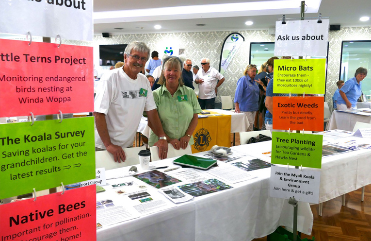 Ian Morphett Secretary and Jill Madden President of the Myall Koala and Environment Group at Palm Lake information day.