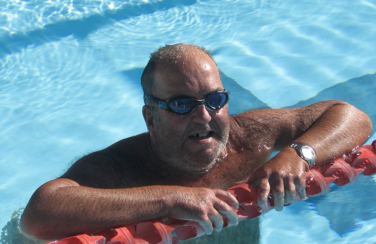 Paul Comte laps it up in the 27 degree warmth of the Tilligerry Pool.