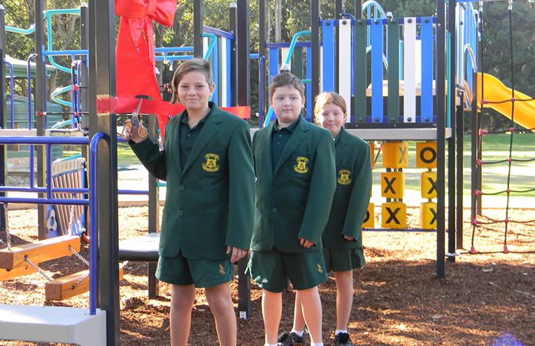 Salt Ash Public School students Jackson Wolinski, Cooper Donnelly and Annabella Barton
