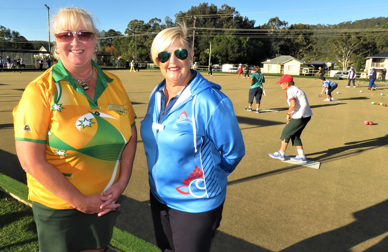 Mary-Anne Hutley, President Bulahdelah Women's Bowling Club and Maryann Parcell, State President NSW Women's Bowling Association check out the competition.