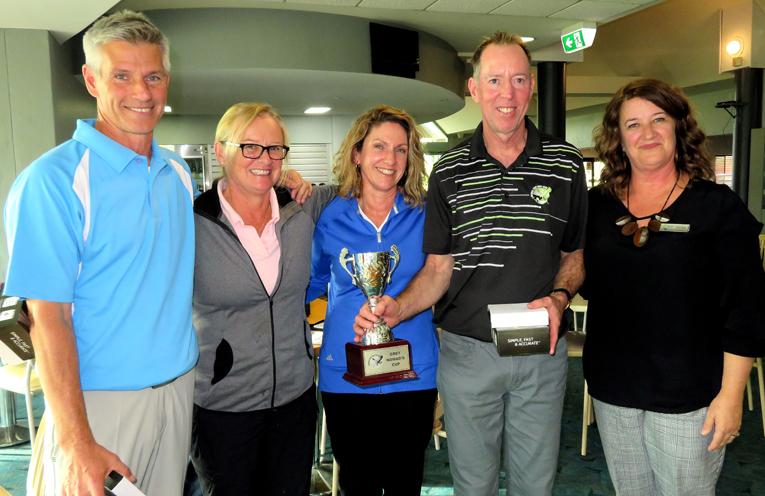 WINNERS: David Cheeseman, Narelle Cheeseman, Lisa George, Richard George with Kathy Jones from Palm Lake Resort.
