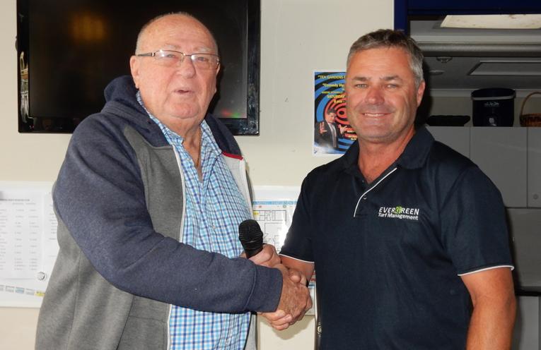 Club President, Noel Jackson welcoming the new greenkeeper, Steve Green.